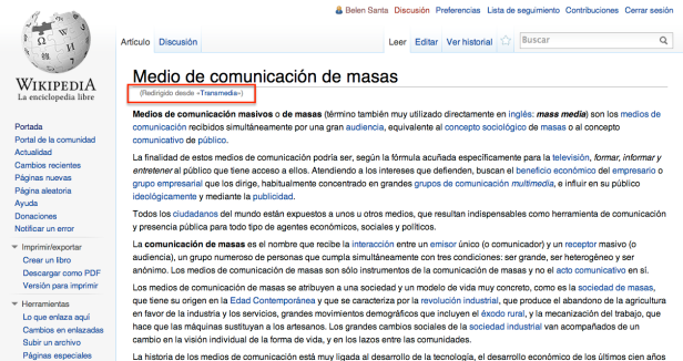 """Al buscar """"Transmedia"""" nos redirigían a """"Medios de comunicación de masas"""""""