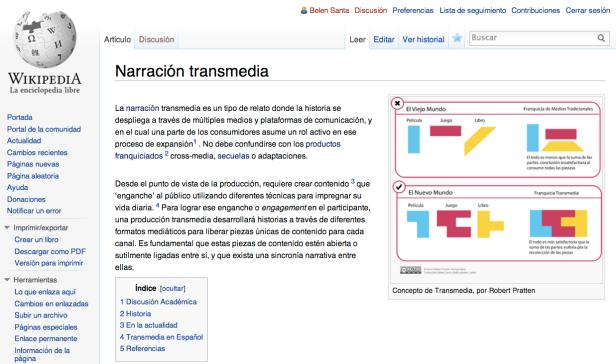 """Nuevo artículo de """"Narración transmedia"""" en español"""